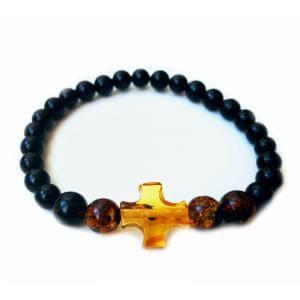 Мужской браслет православный из натурального янтаря