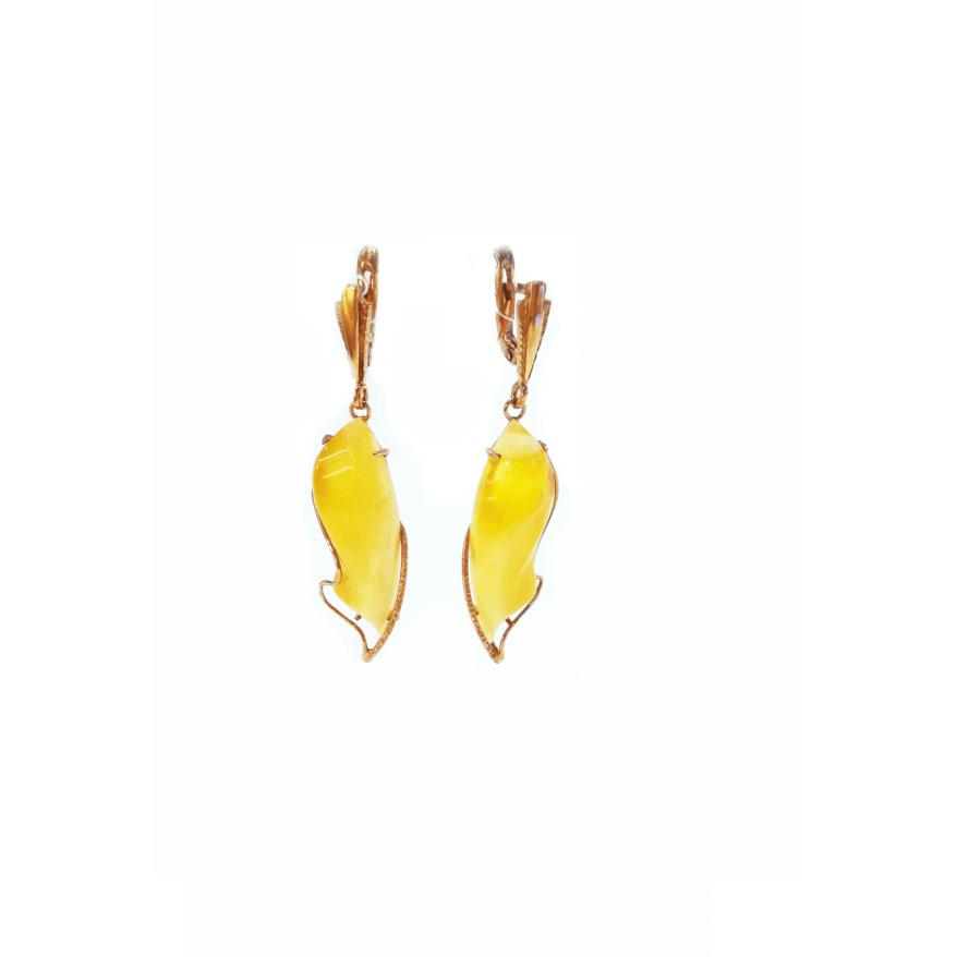Серьги с янтарем медового цвета