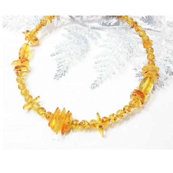 Колье из лимонного балтийского янтаря