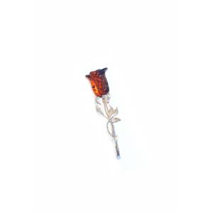 Брошь янтарная в виде розы