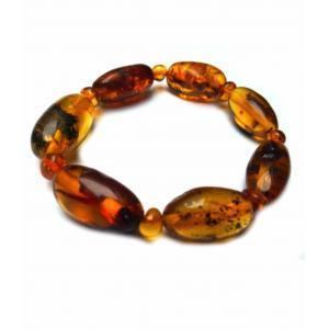 Браслет коньячные янтарные оливки