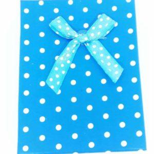 Подарочная коробочка синяя в белый горох