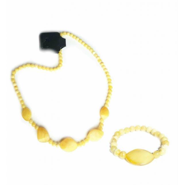 Комплект бусы и браслет из пейзажного янтаря