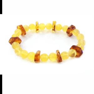 Браслет медовый и лимонный янтарь