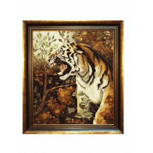 """Картина из янтаря """"Тигр в ярости"""""""