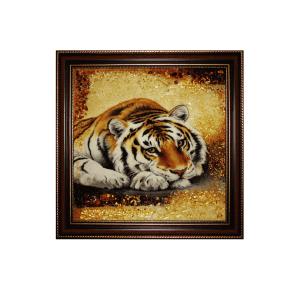 Картина из янтаря мудрый Тигр