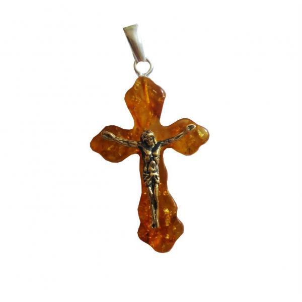 Крест из янтаря лимонный