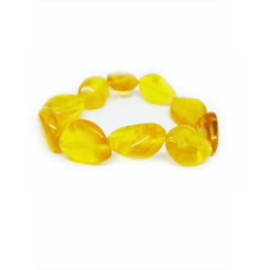 Браслет из янтаря крупные лимоны