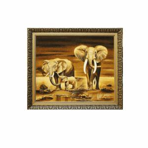 "Картина из янтаря семейная ""Слоны"""