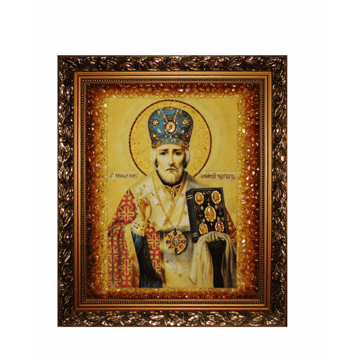 "Икона из янтаря ""Николай Чудотворец"""