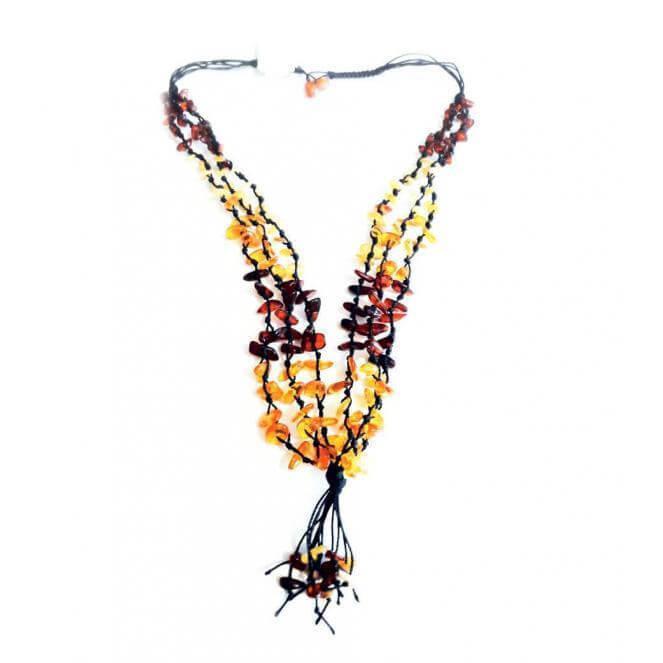 Плетеная подвеска с натуральным янтарем
