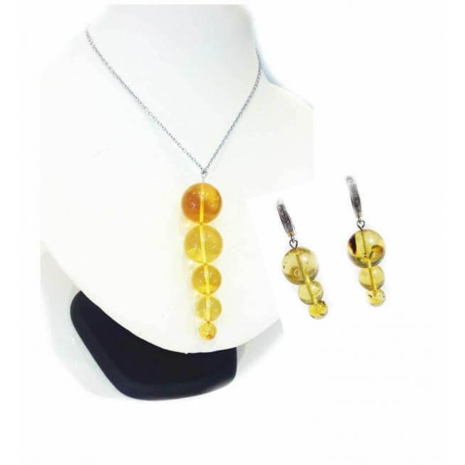 Комплект подвеска и серьги из лимонного янтаря