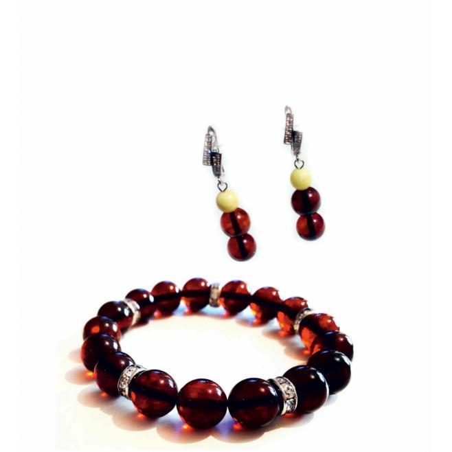 Комплект стильный браслет Вишня и серьги