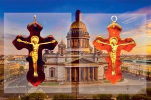 Православные нательные крестики из янтаря