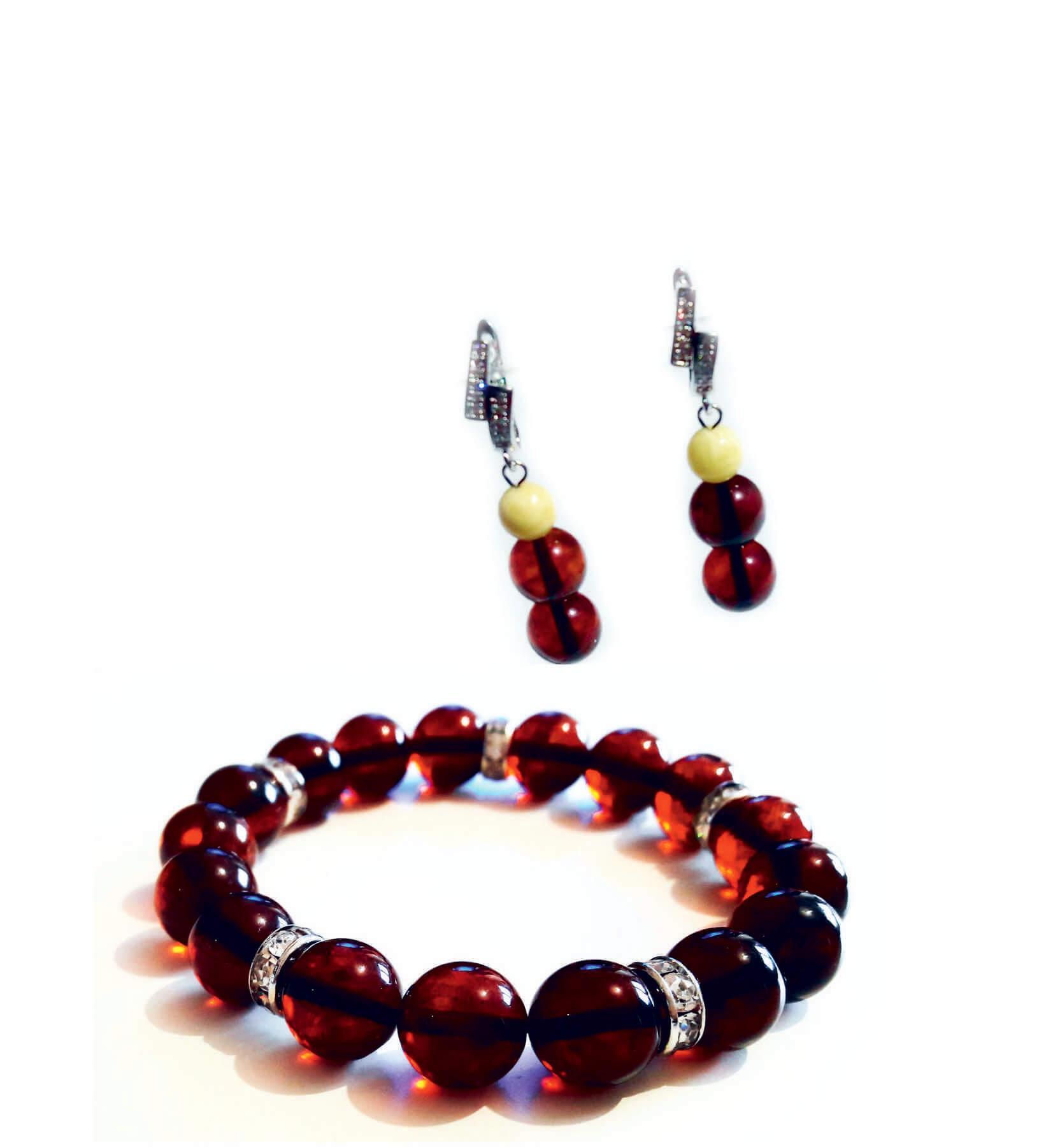 Серьги и браслет из вишневого янтаря