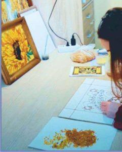 изготовление картины из янтаря