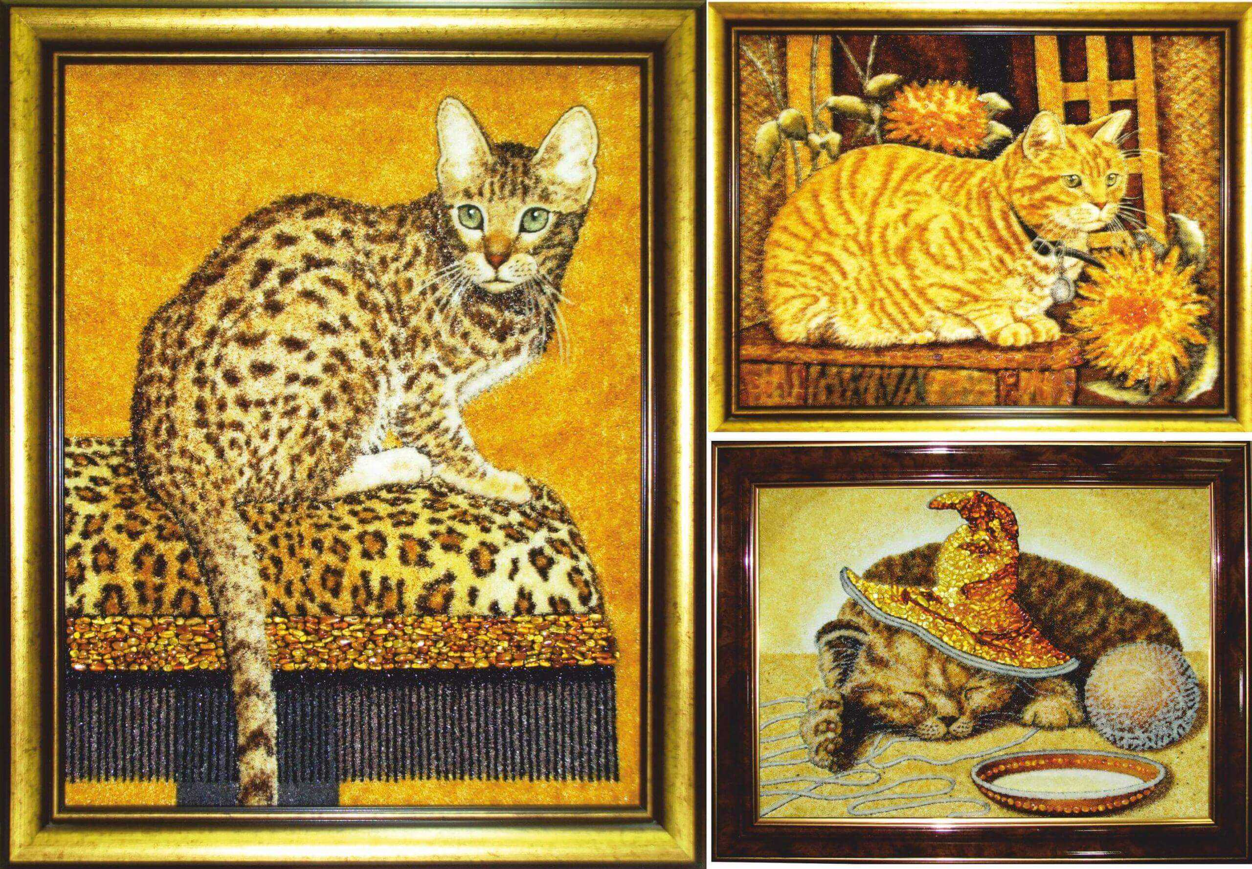 """картина из янтаря """"Рыжий кот"""""""