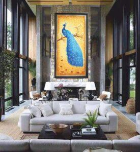 Картина из янтаря в интерьере