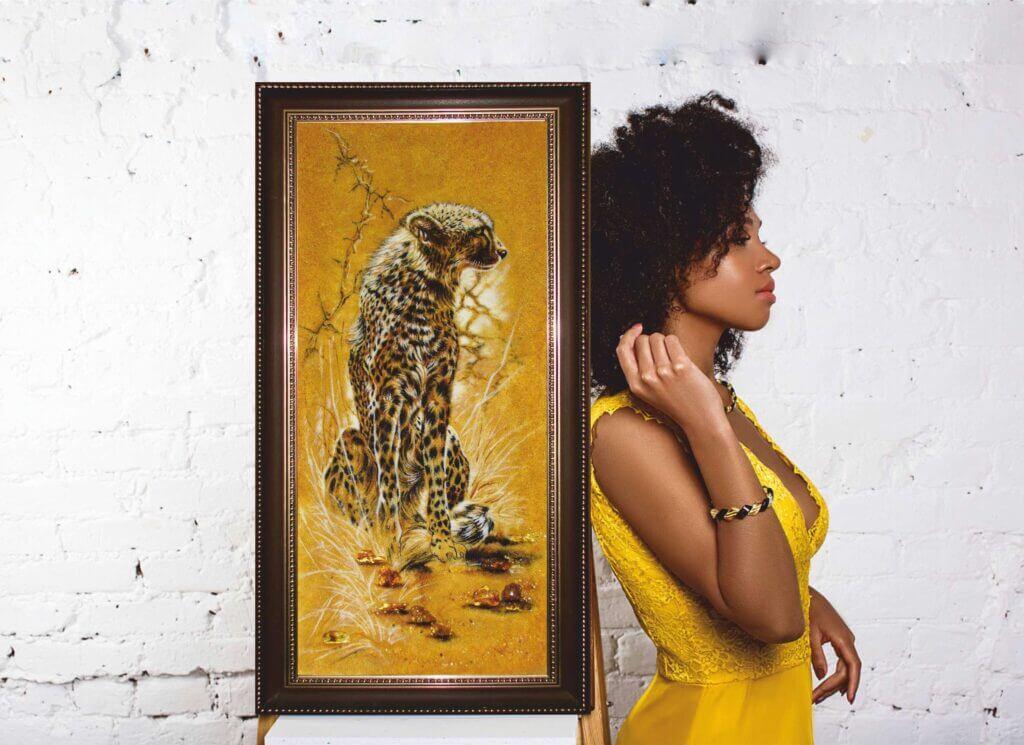 "картина из янтаря ""Гепард"""