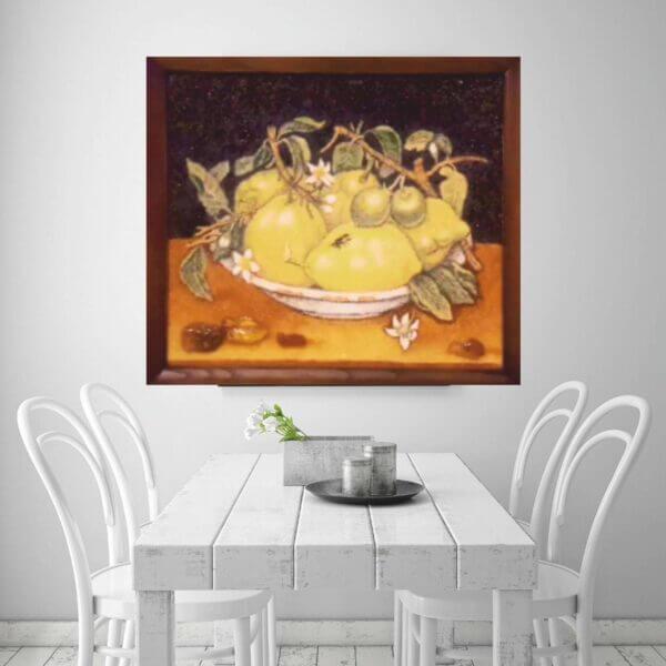 """картина """"Лимоны"""" из янтаря в интерьере"""