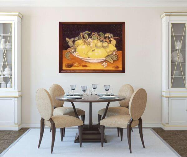 """картина из янтаря """"Лимоны"""" в интерьере"""