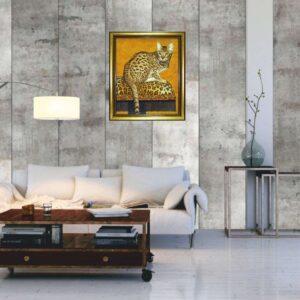 картина из янтаря Кошка бенгальская