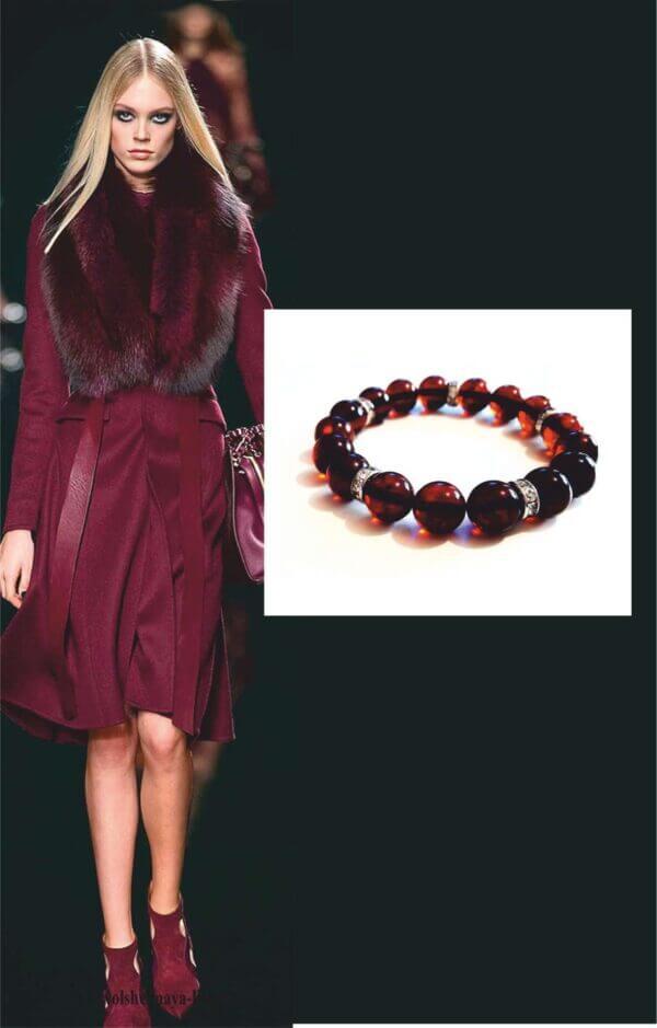 Элегантный браслет из вишневого янтаря