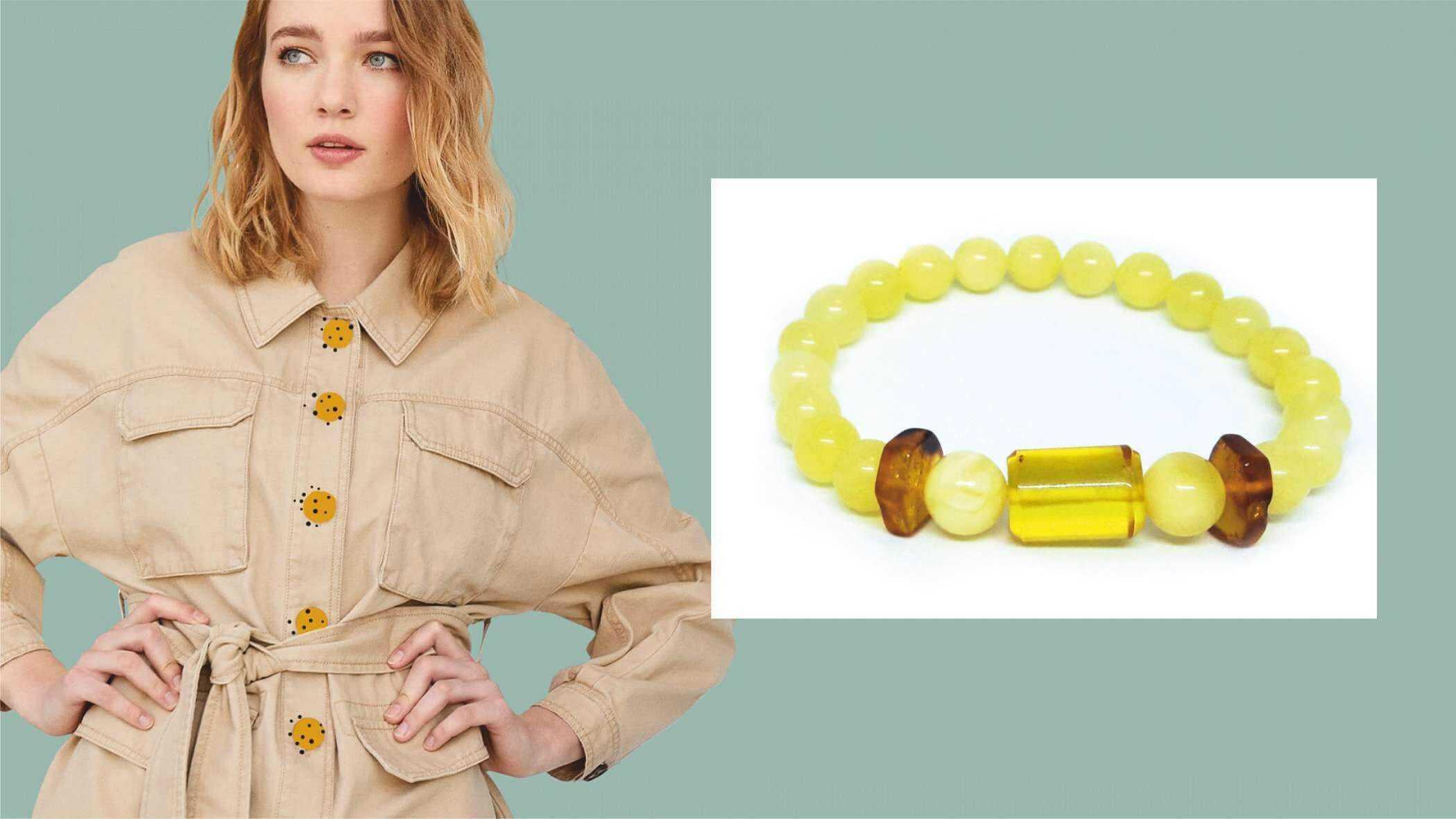 Стильный браслет из медового янтаря