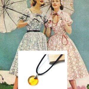 Подвеска из янтаря круглая лимонного оттенка