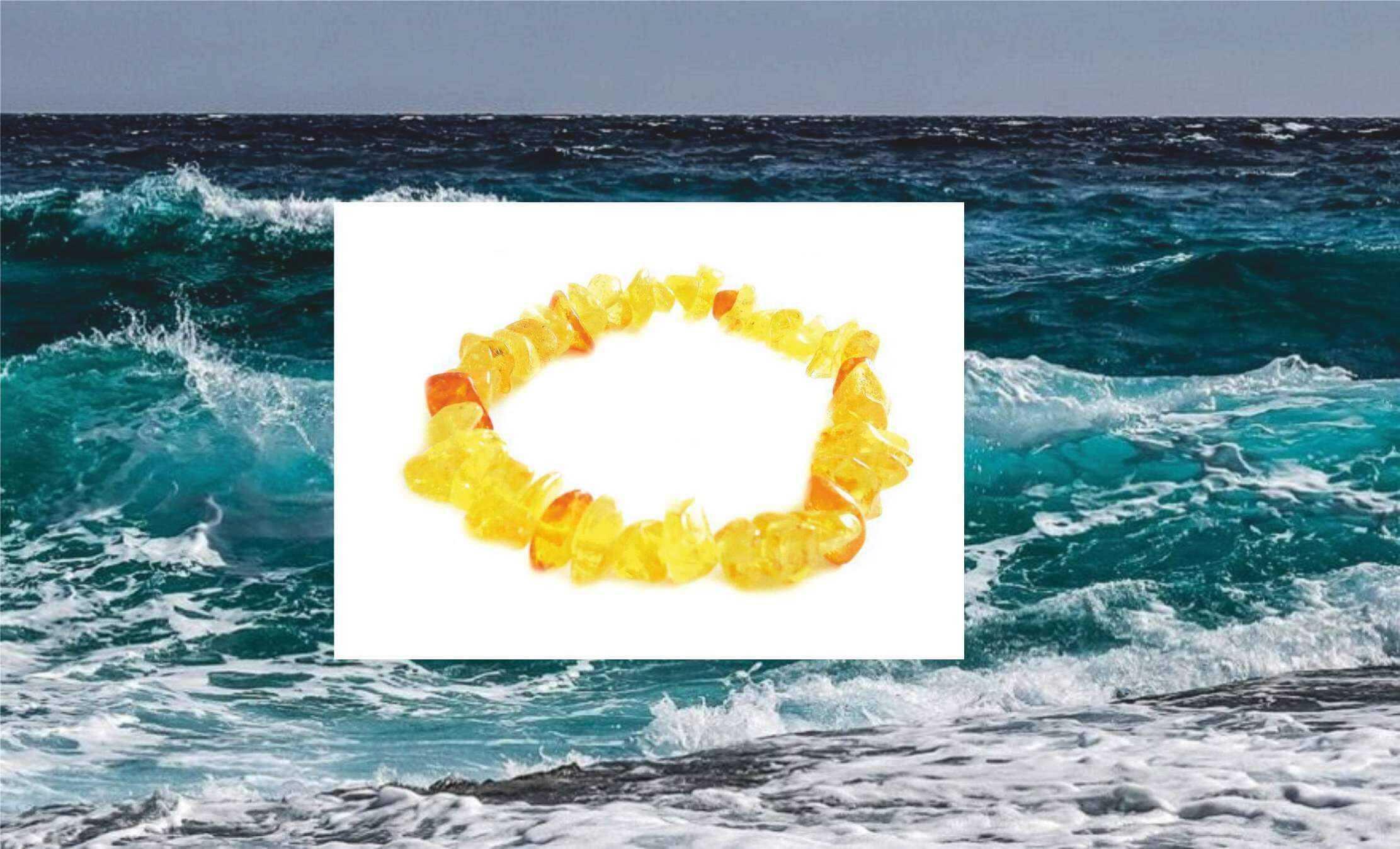 """Лимонный браслет из янтаря """"галька"""""""