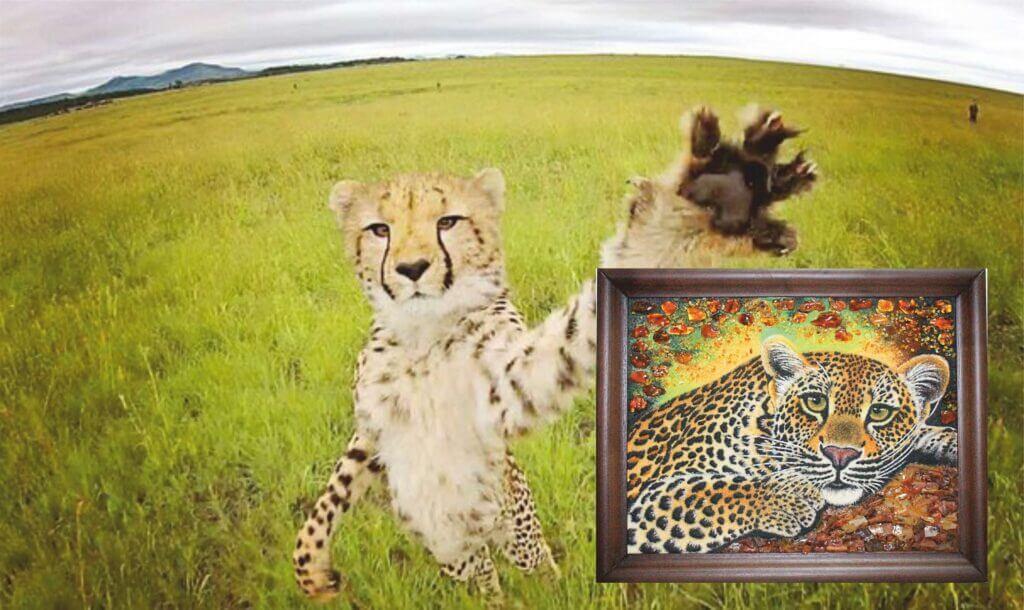 "Картина из янтаря""Гепард"""