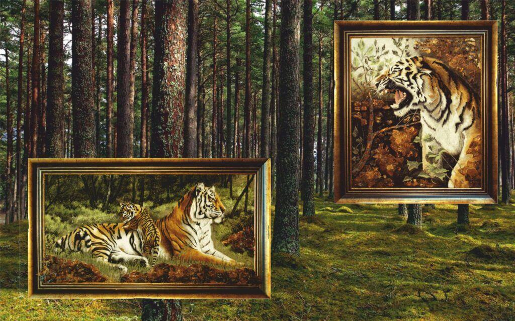 Картина из янтаря Тигрица с тигренком