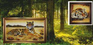 "Картина из янтаря ""шикарный Тигр"""
