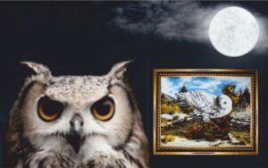Картина из янтаря Полярная сова