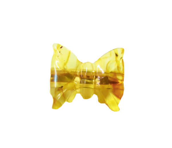 Брошь лимонная бабочка из янтаря