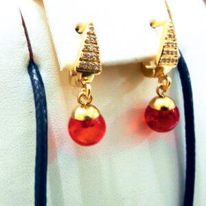 Серьги с красным янтарем