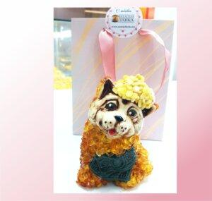 Счастливая собачка с янтарем