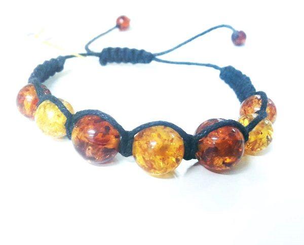 Семь шаров шамбала из янтаря - плетеный браслет