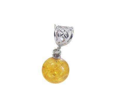 Кулон из янтаря Лимонный шар