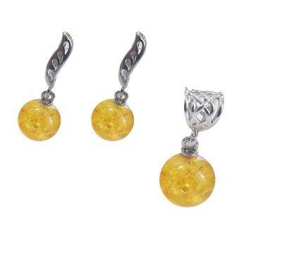Серьги с янтарем и кулон Лимонный шар