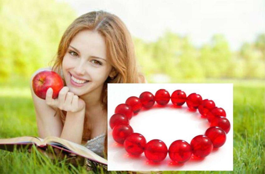 браслет из янтаря красный натуральный