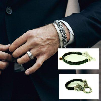 мужской браслет с янтарем