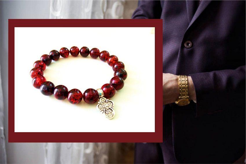 мужской браслет православный вишневый